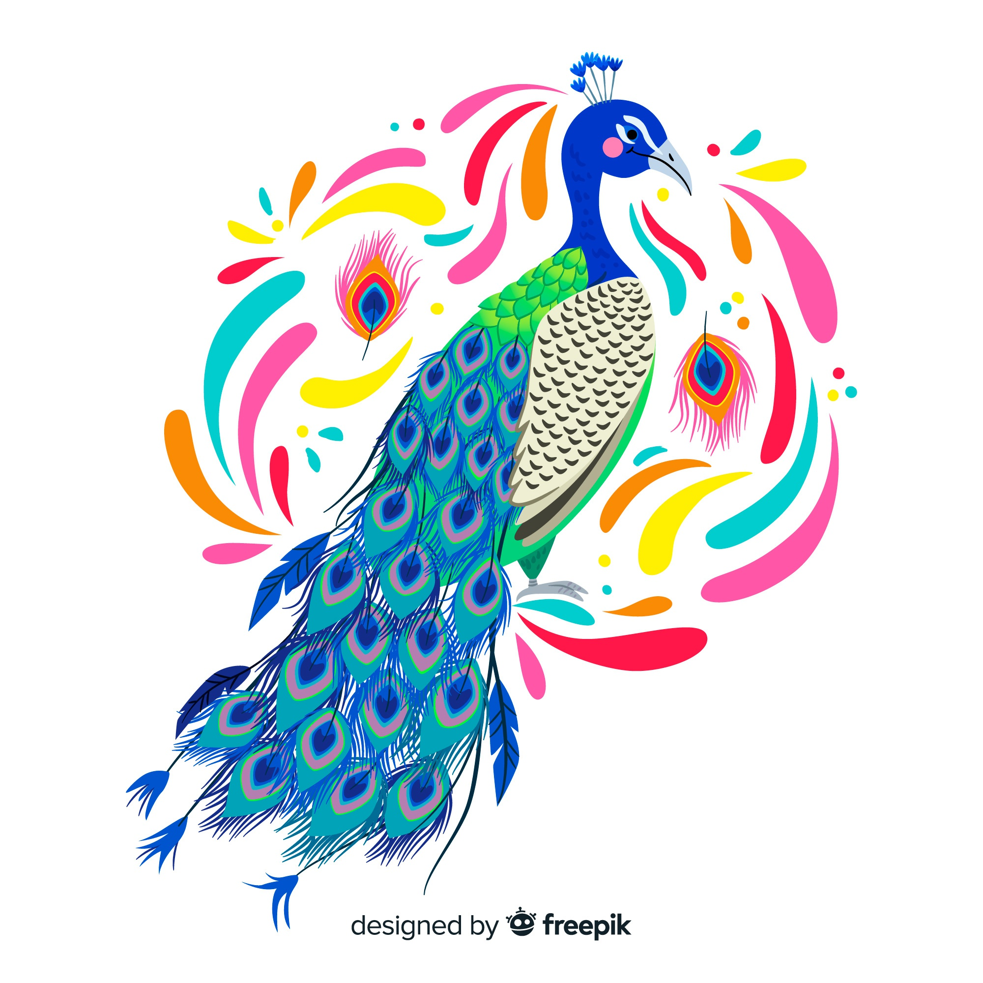 Watercolor peacock background