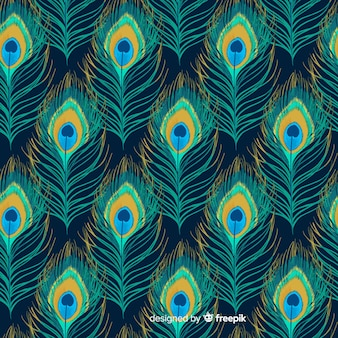 Watercolor peacock feather pattern collection