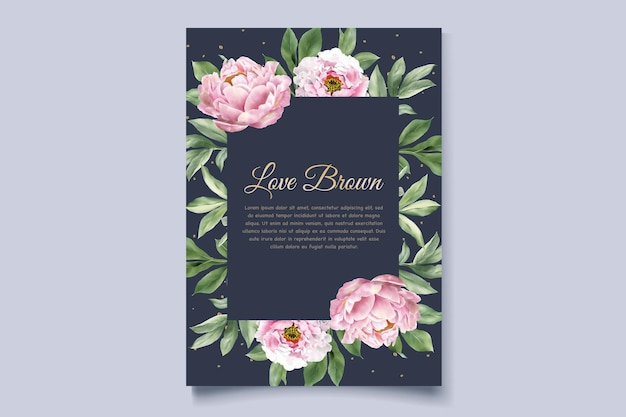 Watercolor peonies invitation card