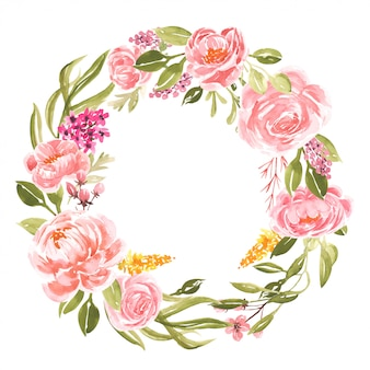 Watercolor peonies peach frame round