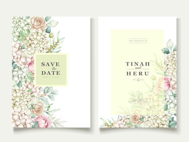 수채화 모란 웨딩 카드
