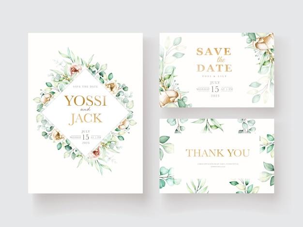 Watercolor peony and eucalyptus invitation card set