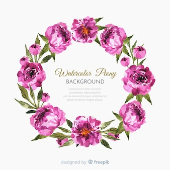 Watercolor peony flowers background