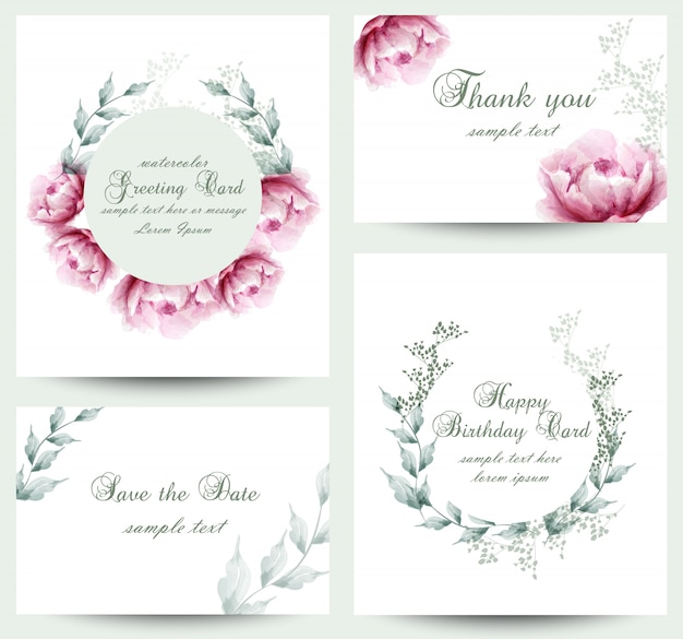 Watercolor peony flowers blossom card collection