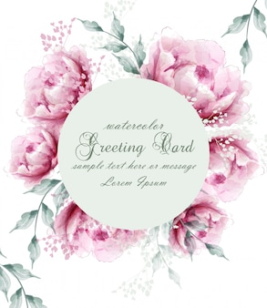 Watercolor peony flowers wreath blossom card