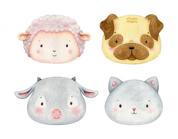 水彩ペットイラスト。子羊、犬、猫、山羊の顔