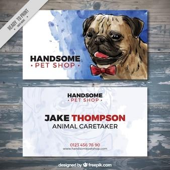 Watercolor pet store card