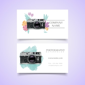 Watercolor photo studio card with polaroid camera