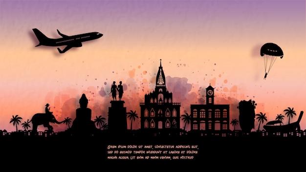 Watercolor of phuket, thailand silhouette skyline and famous landmark..