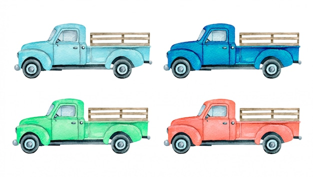 Watercolor pickup truck illustration isolated  . light blue, blue, red and green farm truck pickup truck set.
