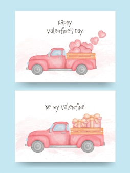 Watercolor of pickup truck with heart and gift box.  valentine's day
