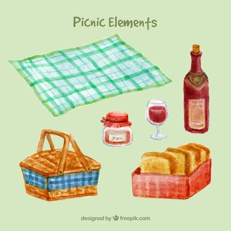 Watercolor picnic elements