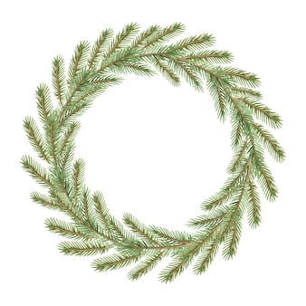 Watercolor picture with a christmas wreath of fir branches