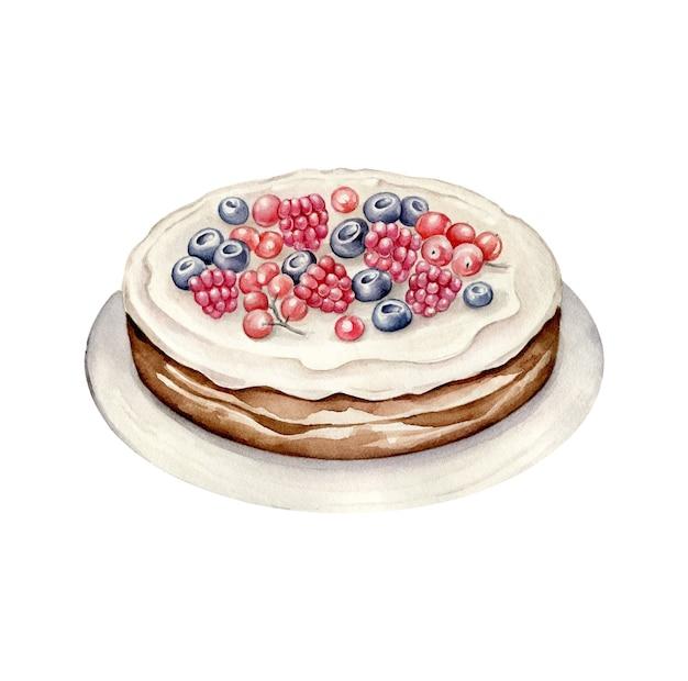 プレートにベリーと水彩のパイ。装飾されたケーキ