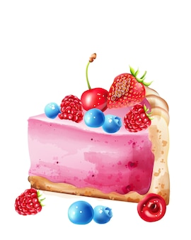 Watercolor piece of berry cheesecake with blueberry, strawberry, raspberry and cherries topping
