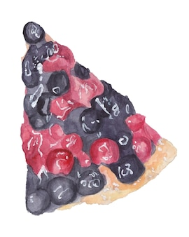 Watercolor piece of berry pie with blueberries and cherries top view