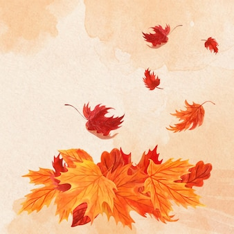 Acquerello mucchio di foglie autunnali