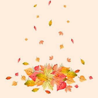 Acquerello mucchio di foglie autunnali colorate