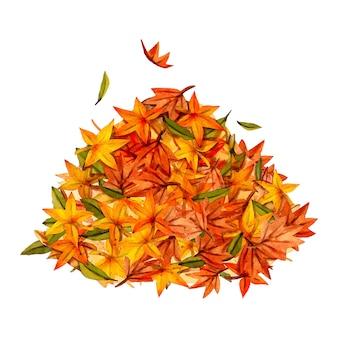 Acquerello mucchio di foglie