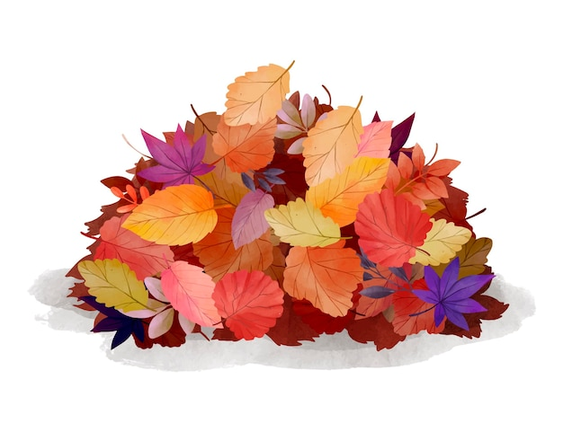 Watercolor pile of leaves
