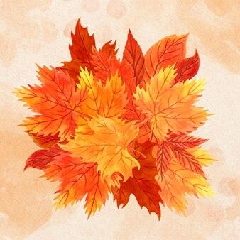 紅葉の水彩画の山