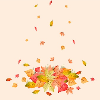 カラフルな紅葉の水彩画の山