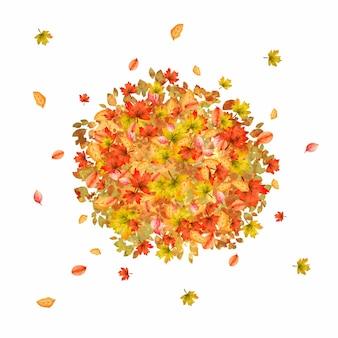 色とりどりの葉の水彩画の山