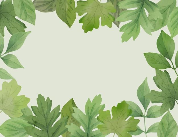 녹색 잎의 수채화 더미