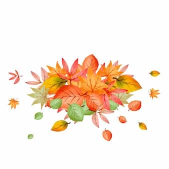 나뭇잎의 수채화 더미