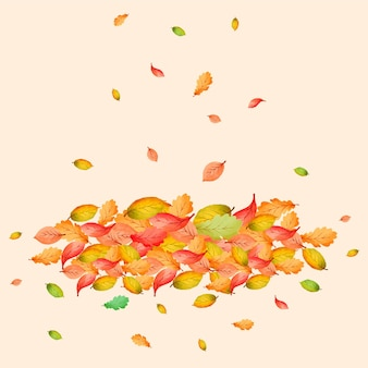 Акварельная куча листьев
