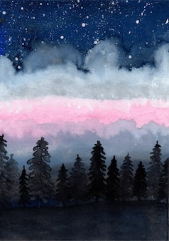 Watercolor pine trees and star background
