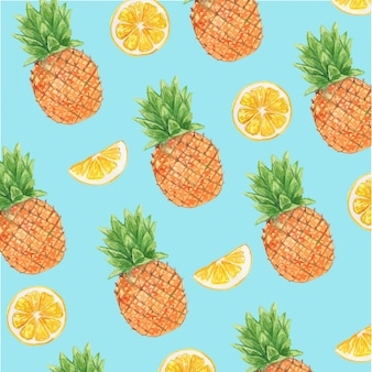 Watercolor pineapple and lemon citrus fruit seamless pattern
