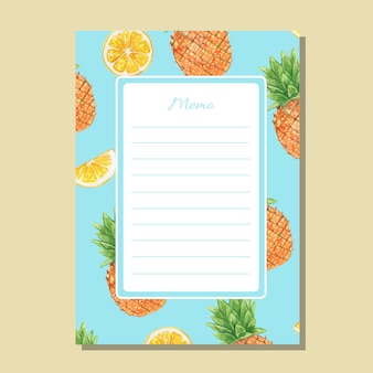 Watercolor pineapple and lemon lined memo printable template
