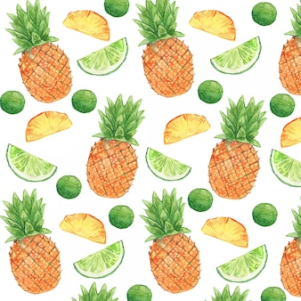 Watercolor pineapple and lime seamless pattern