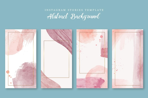 Watercolor pink abstract background instagram story template