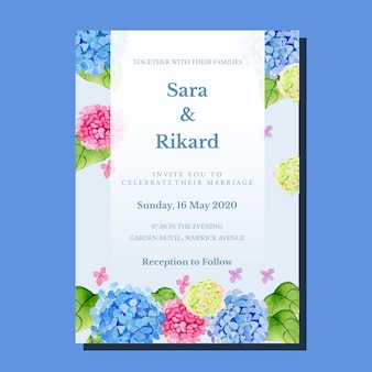 水彩のピンクとブルーのグラデーションアジサイロマンチックなヴィンテージクラシックフレーム結婚式の招待状のテンプレート