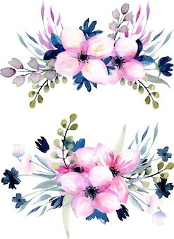 수채화 핑크와 블루 야생화와 꽃다발 세트