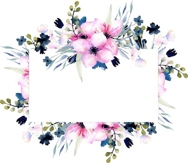 水彩ピンクとブルーの野生の花と枝のフレーム