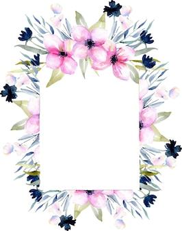 수채화 핑크와 블루 야생화와 필드 잔디 프레임