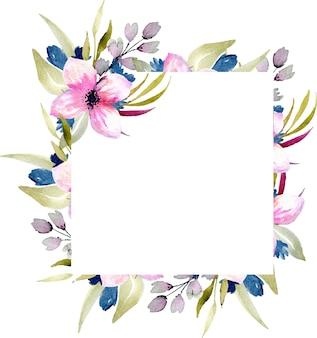 수채화 핑크와 블루 야생화와 녹색 가지 프레임