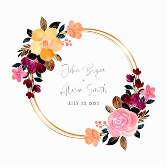 골든 서클 수채화 분홍색과 노란색 꽃 화환