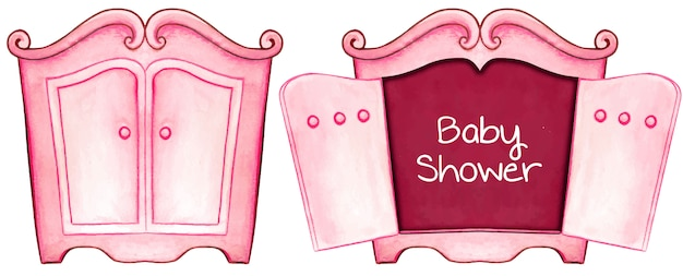 Watercolor pink baby shower invitation card cabinet