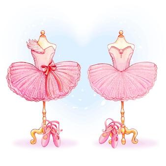 水彩ピンクのバレリーナ衣装チュチュ
