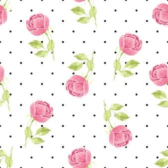 ドットのシームレスなパターンに水彩ピンクの咲くイングリッシュローズ