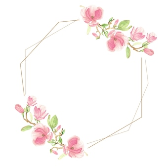 Акварель розовый цветущий цветок магнолии и ветка геометрическая рамка