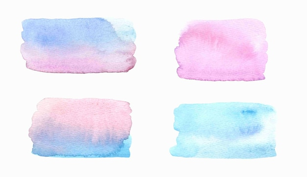 Watercolor pink and blue textured splashes .