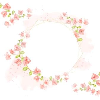 結婚式や誕生日の招待カードの六角形のゴールデンフレームとピンクのスプラッシュに水彩ピンクブーゲンビリア