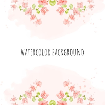 Watercolor pink bougainvillea on pink splash square banner background for wedding or birthday invitation card