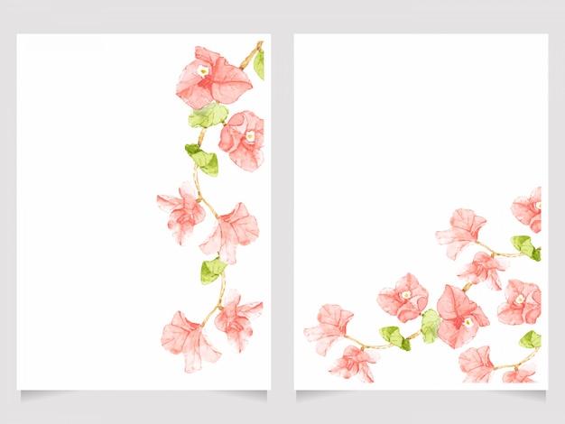 水彩ピンクブーゲンビリアの結婚式の招待カードテンプレートセット