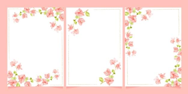 결혼식이나 생일 초대 카드 템플릿 컬렉션을위한 최소한의 라인 프레임이있는 수채화 핑크 부겐빌레아